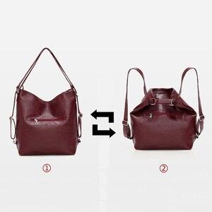 Image 4 - Женские кожаные сумки 3 в 1, высококачественные модные сумки через плечо, винтажные повседневные сумки тоут, женские дизайнерские сумки мессенджер