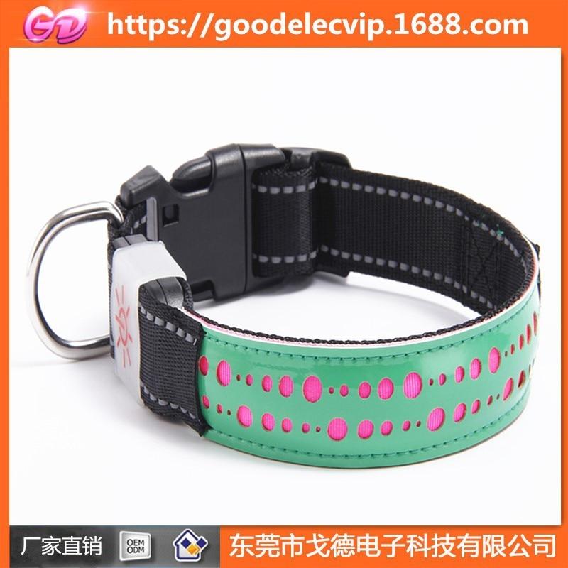 PU Leather LED Luminous Collar Pet Adjustable Flash Telescopic Night Light USB Charging Dog Collar