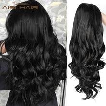 AISI HAIR-perruque ondulée synthétique longue noire, cheveux ondulés, 26 pouces, en Fiber résistante à la chaleur, pour femmes noires