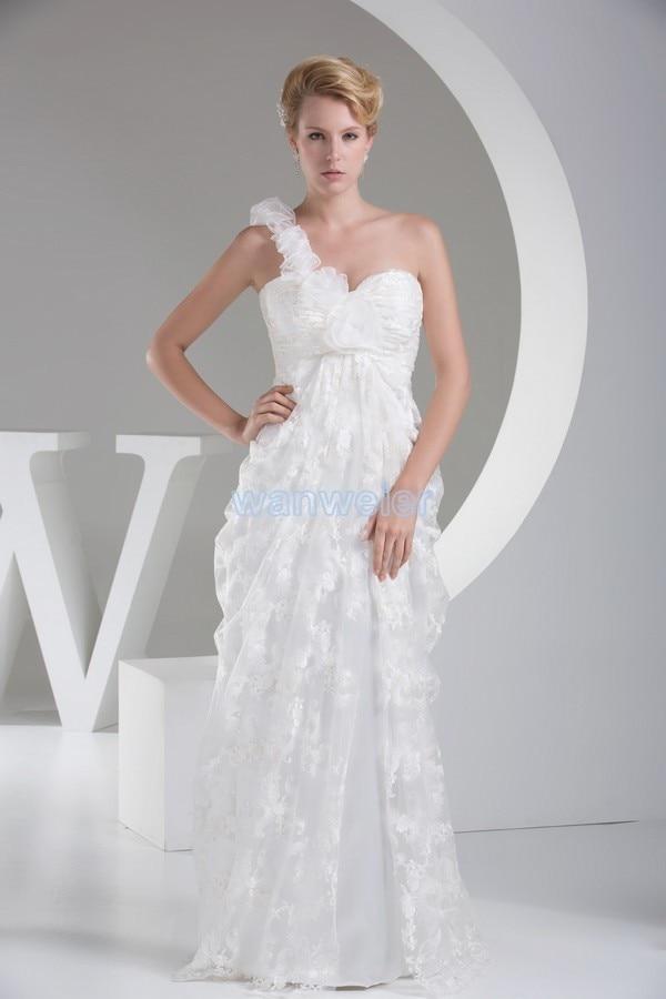 Free Shipping Vestido De Festa Vestido Longo New Custom Handmade Flowers White One Shoulder Lace Elegant Mother Of Bride Dresses