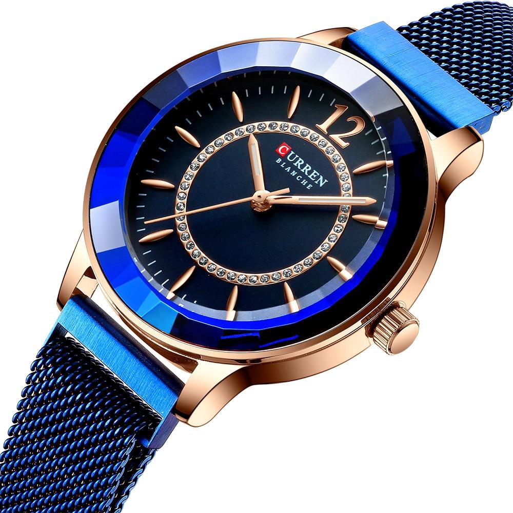 CURREN Brand Ladies Watch Rhinestone Fashion Quartz Mesh Steel Watch For Women Causal Blue Ladies Watches Kol Saati