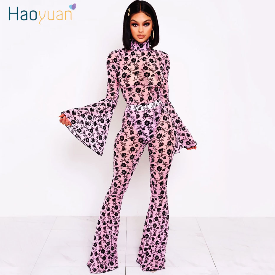 HAOYUAN Sexy Floral Print Mesh Sheer Two Piece Set Women Clother 2020 Party Club Outfits Bodysuit Bell Bottom Pant Matching Sets