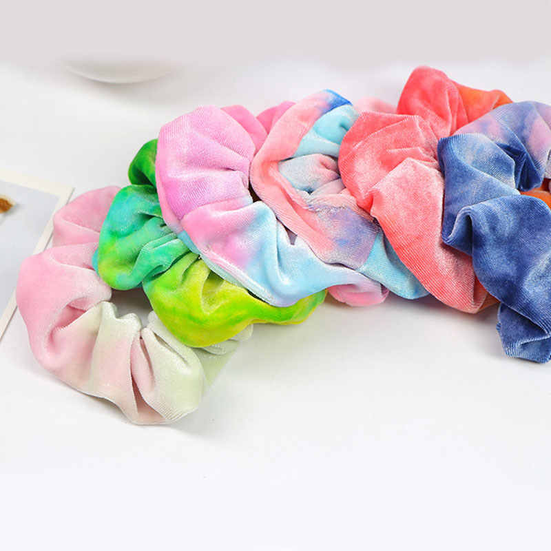 2019ใหม่สายรุ้งนุ่มกำมะหยี่Scrunchies Tie-Dyeผมแหวนยางวงยืดหยุ่นผมเชือกผูกผู้หญิงสาวอุปกรณ์เสริมผม