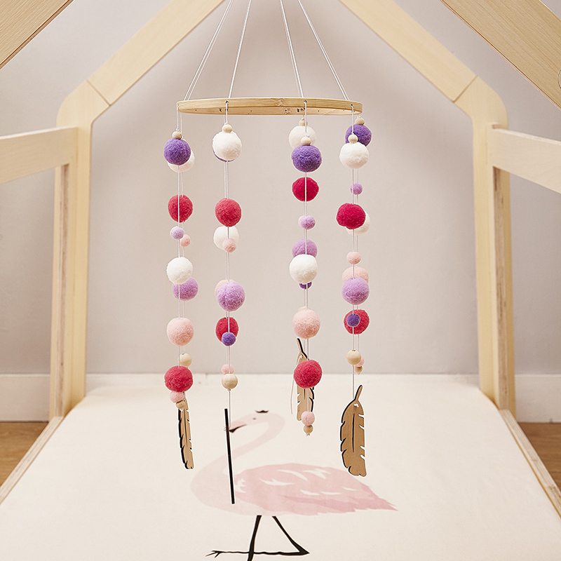 Nordic Wind Chime Baby Bed Bell Children's Room Decoration Photography Props Wooden Rattle Mobile Activity Play Gym Baby Toys