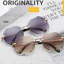 ZUCZUG Fashion Women's Rimless Sunglasses Brand Design Metal Frame Gradient Lens
