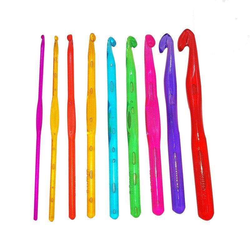 Conjunto de 9 ganchos de ganchillo, conjunto de agujas de tejer, manualidades de tejido, herramientas de 3-12mm