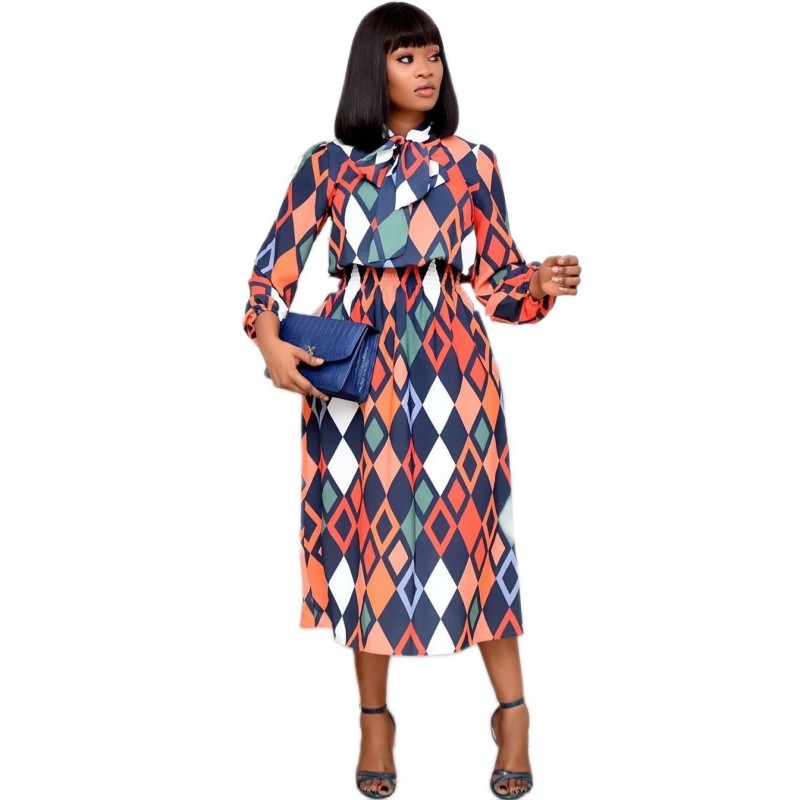 African Dress For Women 2020 Casual Plus Size Slim Patchwork Color Midi Dresses Elegant Sexy Long Dress 3XL 4XL Africa Clothing