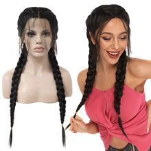 Anogol Middle Part Long Double Braids Straight Natural Black Braided Synthetic L