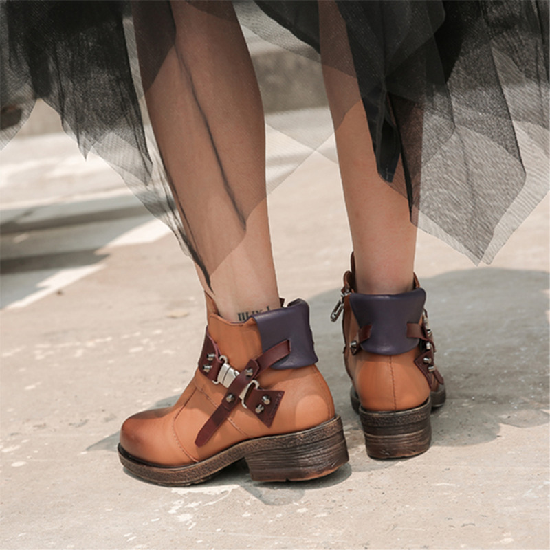 Mabaiwan Mode Nieten Frau Stiefeletten Braun Echtes Leder Zipper Warme Schuhe Frauen Winter Herbst Niet Retro Kurze Stiefel - 3