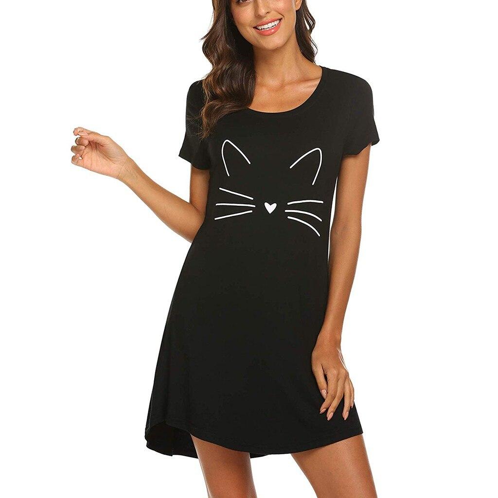 Loose Summer Dress Women Cartoon Cat Print Dress Fashion Casual Short Sleeve Comfortable Sundress Summer Beach