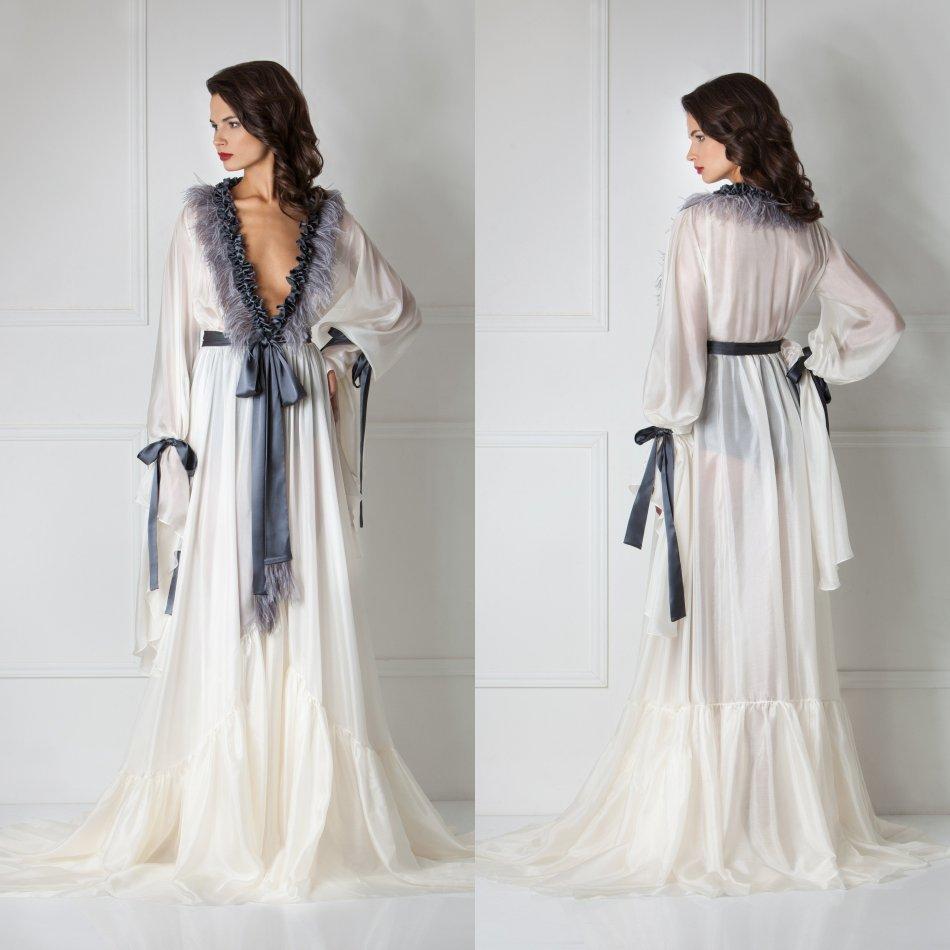 Luxury Feather Women Sleepwear Bathrobe Long Silk Kimono Dressing Gown Babydoll Lace Lingerie Bath Robe Sexy Camisola De Dormir