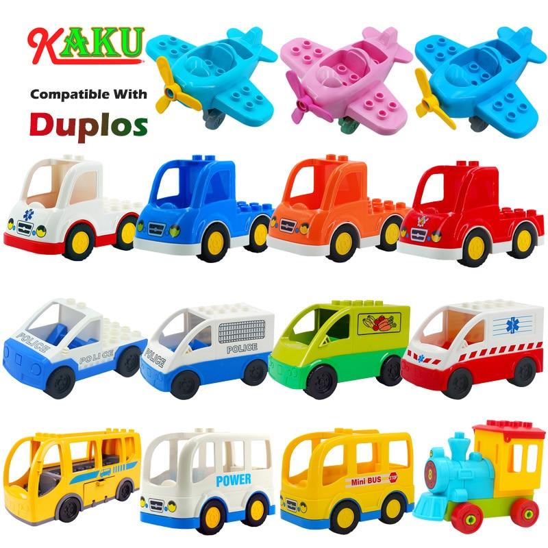 Совместимые строительные блоки Duplos, детские игрушки, большие размеры, кирпичные строительные блоки, игрушки, мультяшный автомобиль, самоле...