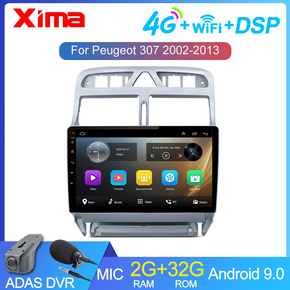 Android 9.0 RAM 2GB Car DVD GPS Navigation Multimedia Player For peugeot 307 307CC 307SW Radio 2002-2013 Auto Radio GPS Navigat image