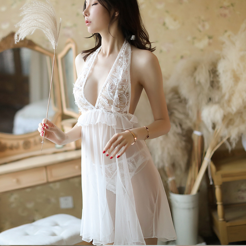 Japanese Korean Hot Selling New Style Feather Embroidered Slip Nightdress Sexy Perspective Women's Sexy Pajamas Suit