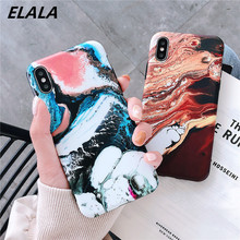 ELALA Matte Marble Case For iPhone X XS Cover Vintage Frosted Soft Silicon Funda 6 s 7 8 Plus XR XsMax Capa