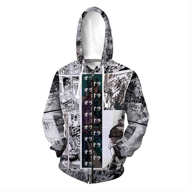 JoJo's Bizarre Adventure Kujo Jotaro Hoodie GUIDO MISTA Print Zip Up Sweatshirt Fall Winter Clothes Jacket Men Women Cardigan 3
