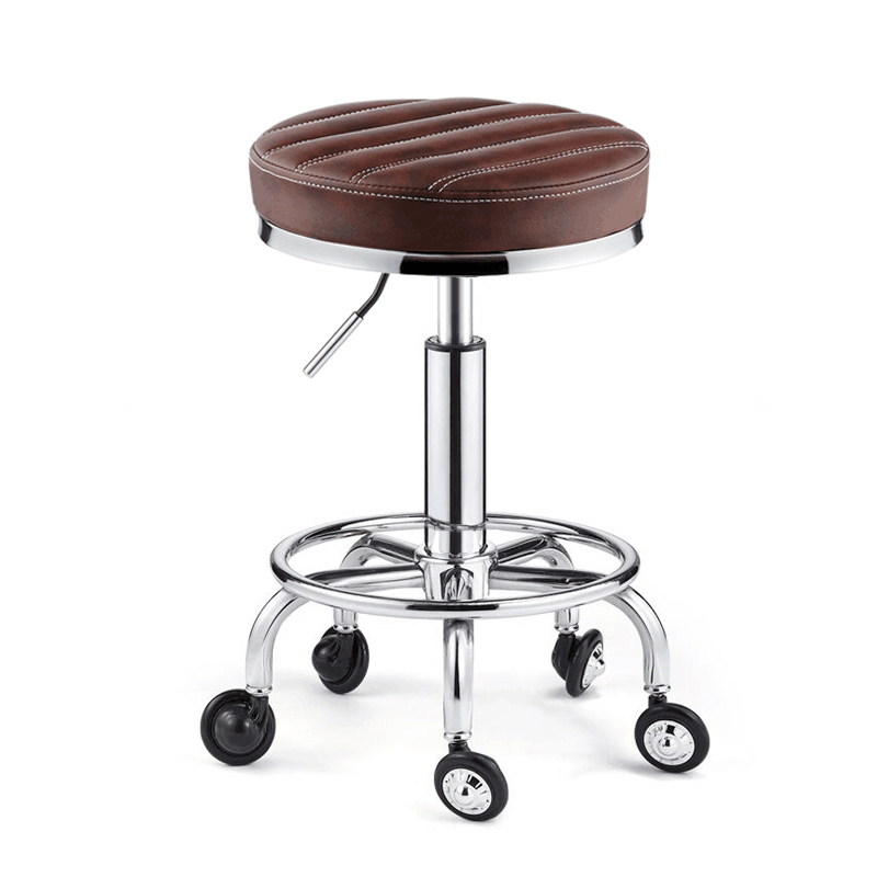 Beauty Stool Barber Shop Chair Rotary Lift Round Stool Hairdressing Work Bench Pulley Stainless Steel Hair Cutting Stool