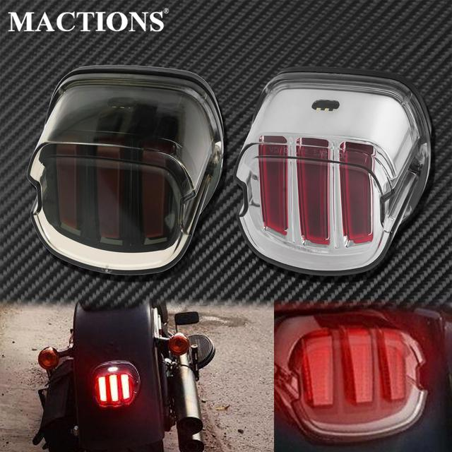 Motorcycle Red LED Tail Light Smoke/Chrome Lens Rear Brake Stop License Plate Lamp For Harley Softail Touring Dyna Sportster XL