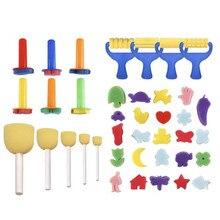 39 pçs / set Pincéis de esponja criativos Brinquedos de desenho engraçado Crianças Diy Espuma Pintura Pincel de grafite Suprimentos Conjunto de arte Artesanato