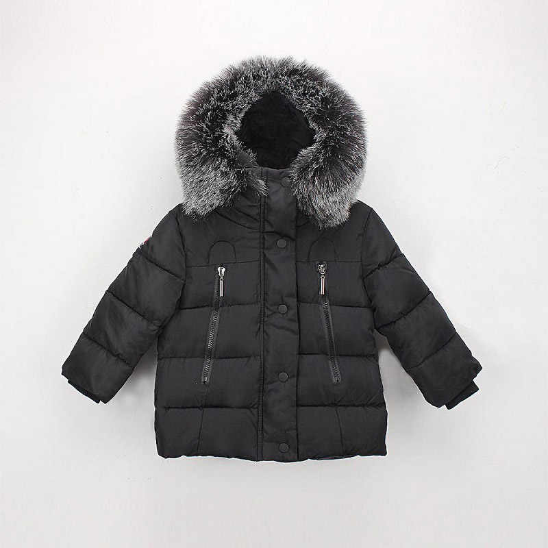 2019 New Winter jacket for girls boys Toddler padded jacket 2-7T kids boys casual Fur collar baby Boy hooded warm coats