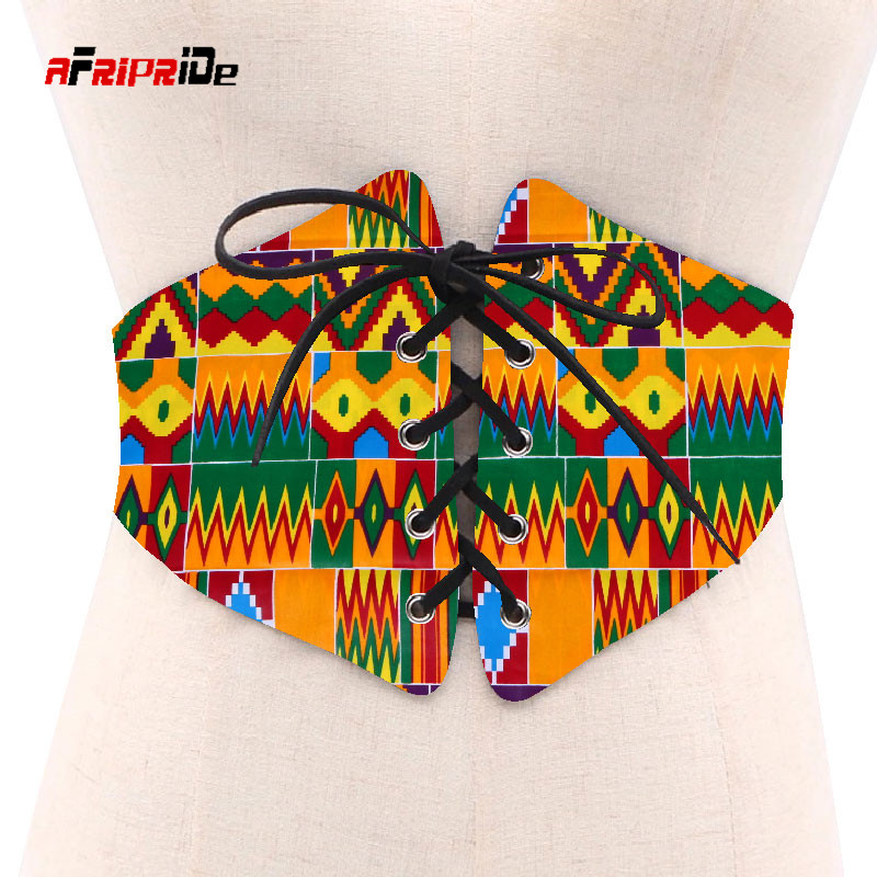 2019 African Print Waist Corset Belt Button Skirts For Women Gift African Waist Jewerly Ladies Lace-up Belts Size M-6XL SP039