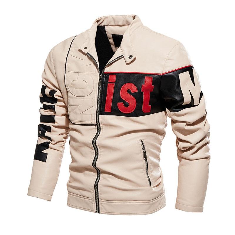 KIOVNO Men Fashion Leather Jacket And CoatsFleece Lined Motorcycle Faux Leather Jackets Outwear For Male Patchwork Windbreak (13)