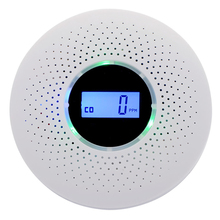 Smoke-Detector Combination Carbon-Monoxide LCD Display And 2-In-1 Battery-Operated Photoelectric