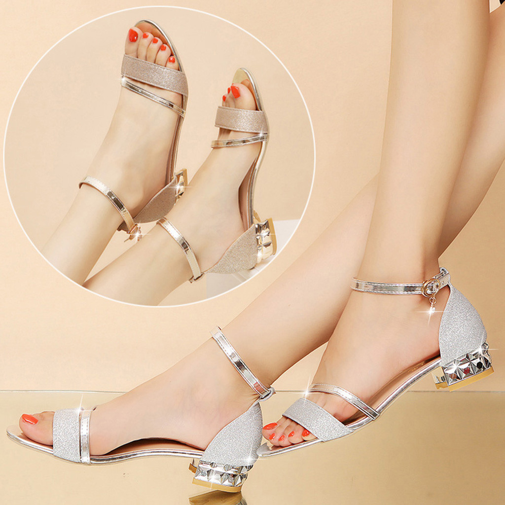 2020 Ladies Sandals Shoes Women L Luxury High Quality Sandals Ankle Mid Heel Block Party Open Toe Square Shoes Zapatos De Mujer 3
