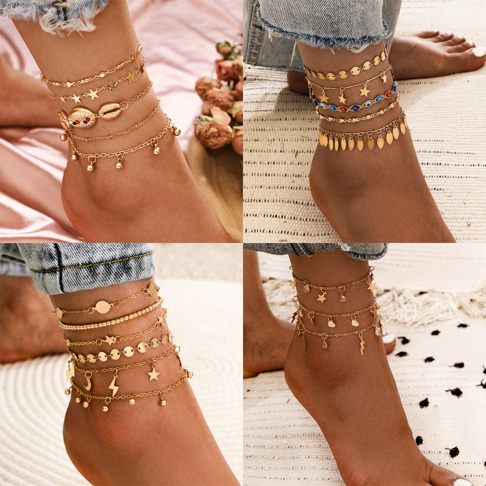Wgoud Layered Gold Shell Pendant Chain Ankle Bracelet On Leg Foot Jewelry Boho Charm Anklets for Women Accessories Mujer