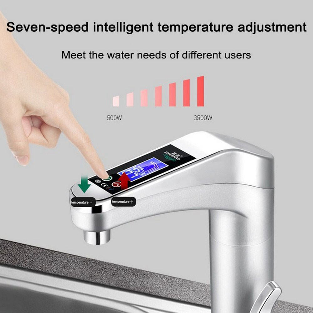 Faucet Water Heater 220V Kitchen Electric Tankless Water Heater Hot Water Heating Tap With Temperature Display Touch Switch