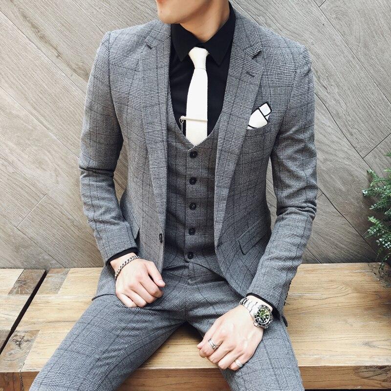 British Style Latest Coat Pant Designs Wedding Suits Men Slim Fit Suits Men 2020 Spring Autumn Groom Tuxedos Grid 3pc Suit Men
