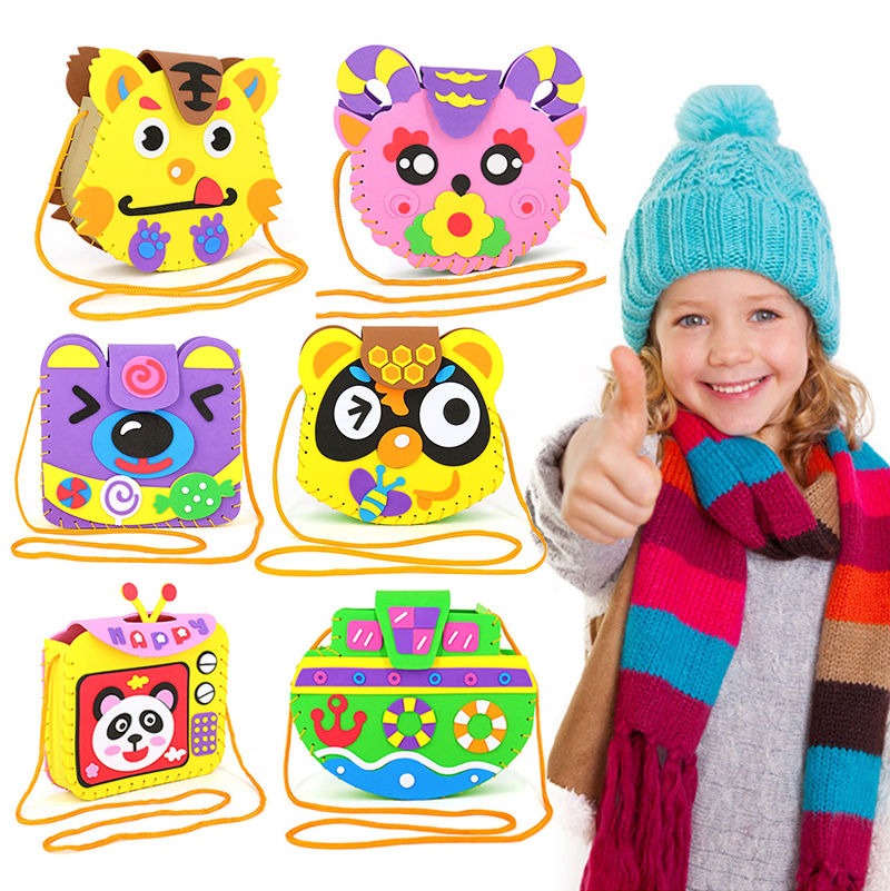 Kindergarten Lots Arts Crafts Diy Toys Cartoon Children's Bag Crafts Kids Educational For Children's Toys Fun Girl/boy Gift 1890