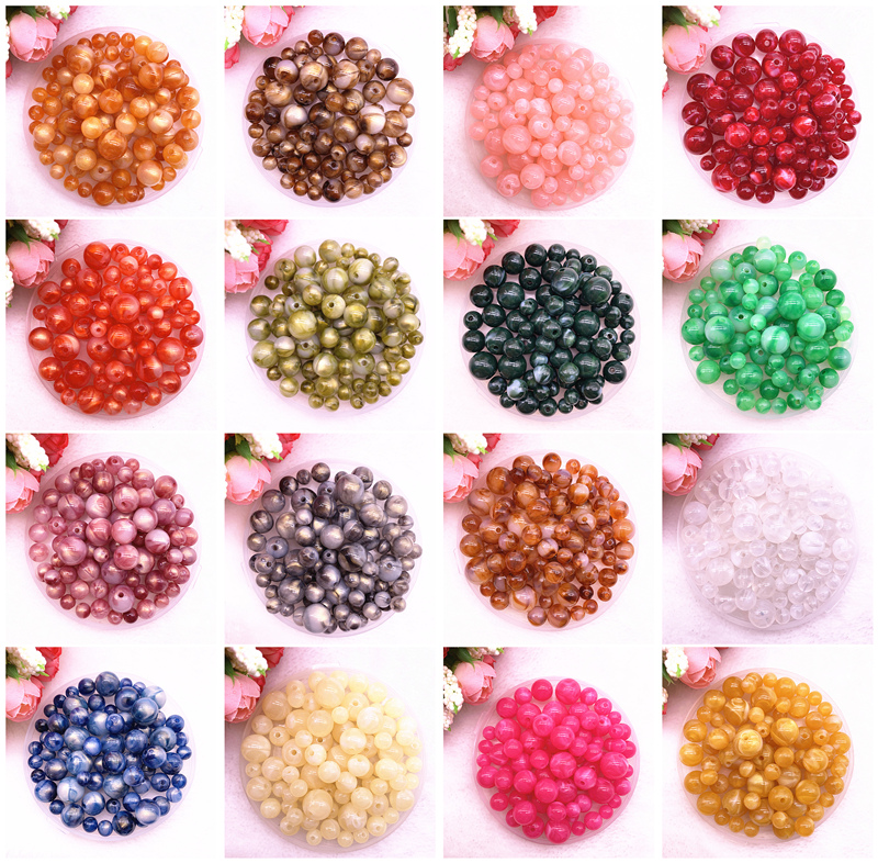 New 8 10 12 14mm Colour Gold Powder Round Acrylic Beads Spacer Loose Beads for Jewelry Making DIY Handmade Bracelet(China)
