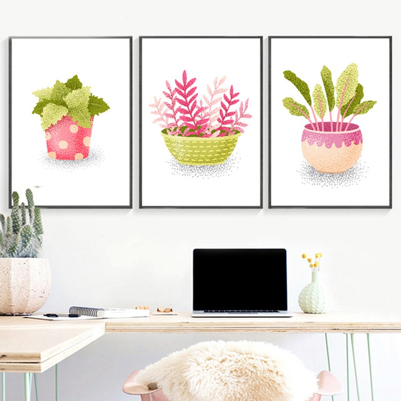 Cute Cartoon Watercolor Cactus Plant Posters And Prints Canvas Painting Nordic Minimalist Wall Art Picture For Living Room Decor image