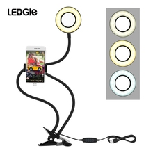 LEDGLE Selfie LED Ring Light with Cell Phone Mobile Holder Lamp Live Stream Makeup Camera lamp for iPhone Android Bracket