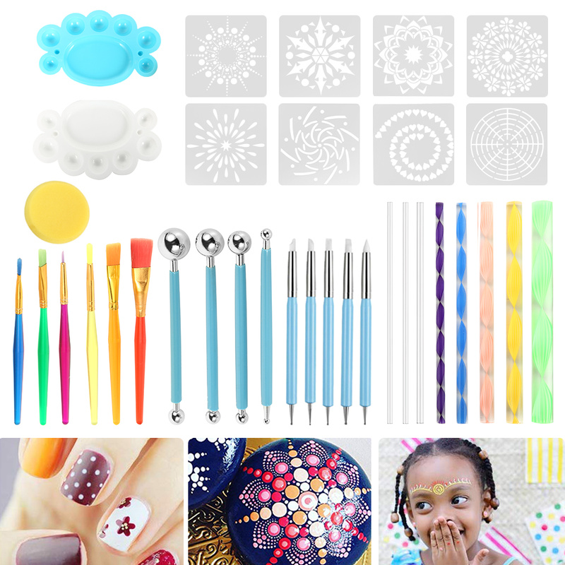 35pcs Mandala Dotting Tools Set For Painting Rocks Pottery Portable Multifunction Embossing Dot Kit Dotting Tool Set Handwork