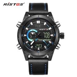 RISTOS Top marka mężczyźni oglądać wielofunkcyjne człowiek Sport analogowy cyfrowy skórzane zegarki mody mężczyzna zegarek na rękę Relojes Masculino w Zegarki sportowe od Zegarki na