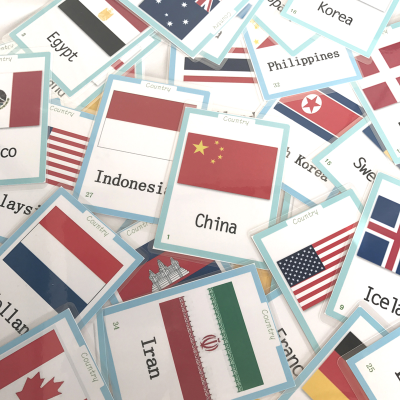 39pcs World Country Flags Flash Cards For Toddlers English Chinese Flashcards Kids Learning Educational Cognitive Cards Game