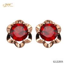 JYX Beautiful Garnet Earing Round Faceted Elegant Jewelry for Women Everyday Holiday Gift