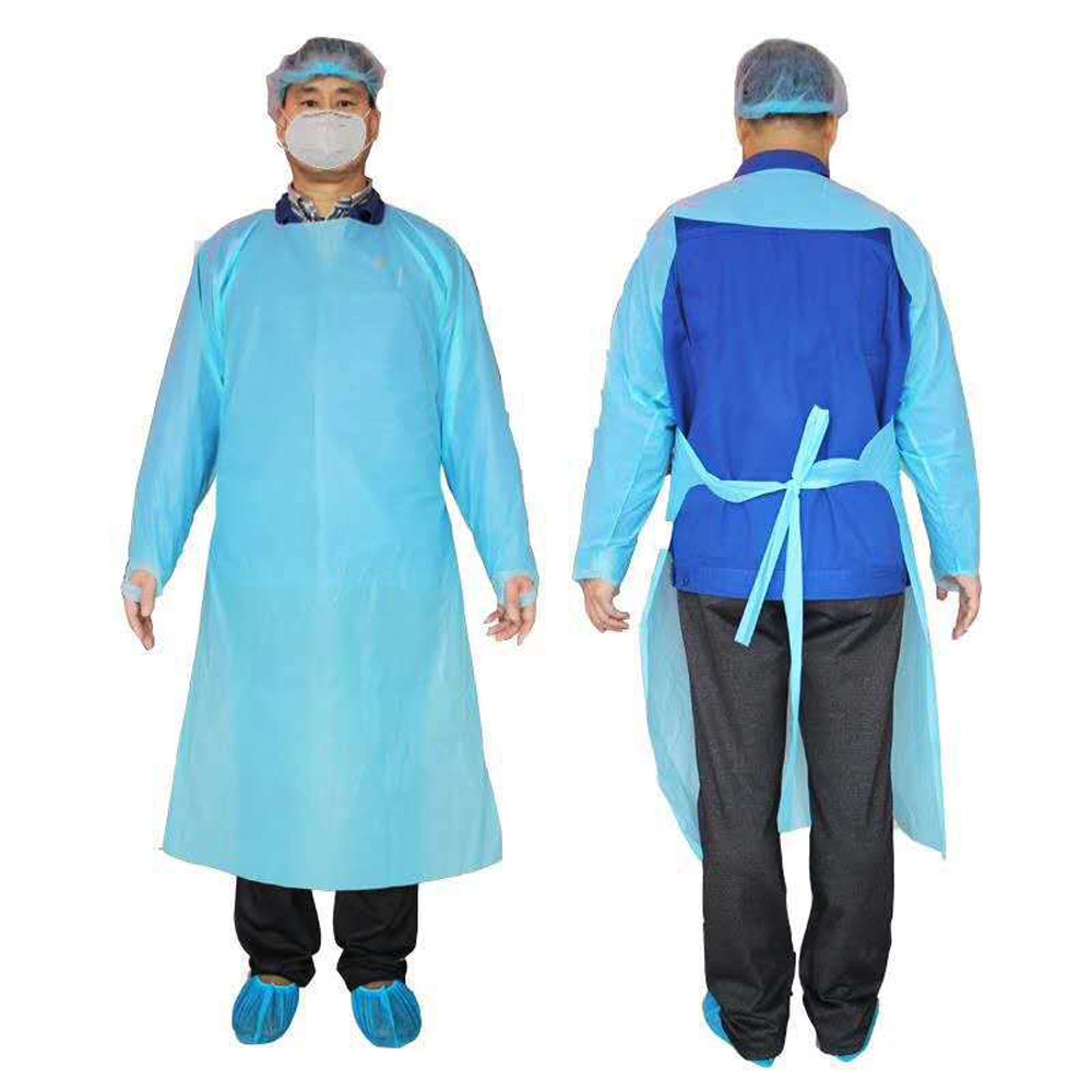 Sleeve Apron Disposable Plastic Waterproof Oil Proof Thumb Buckle Apron Isolation Gown