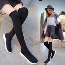 Sneakers Black Boots High-Knitting Socks Elastic Long-Thigh Women Spring HKXN Y2 Over