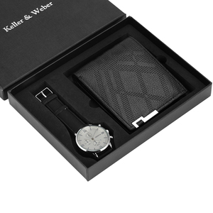 Image 5 - Luxus Männer Uhr Brieftasche Set Lederband Quarz Armbanduhr Mode Analog Uhr Geburtstag Geschenke für Vater Ehemann freund