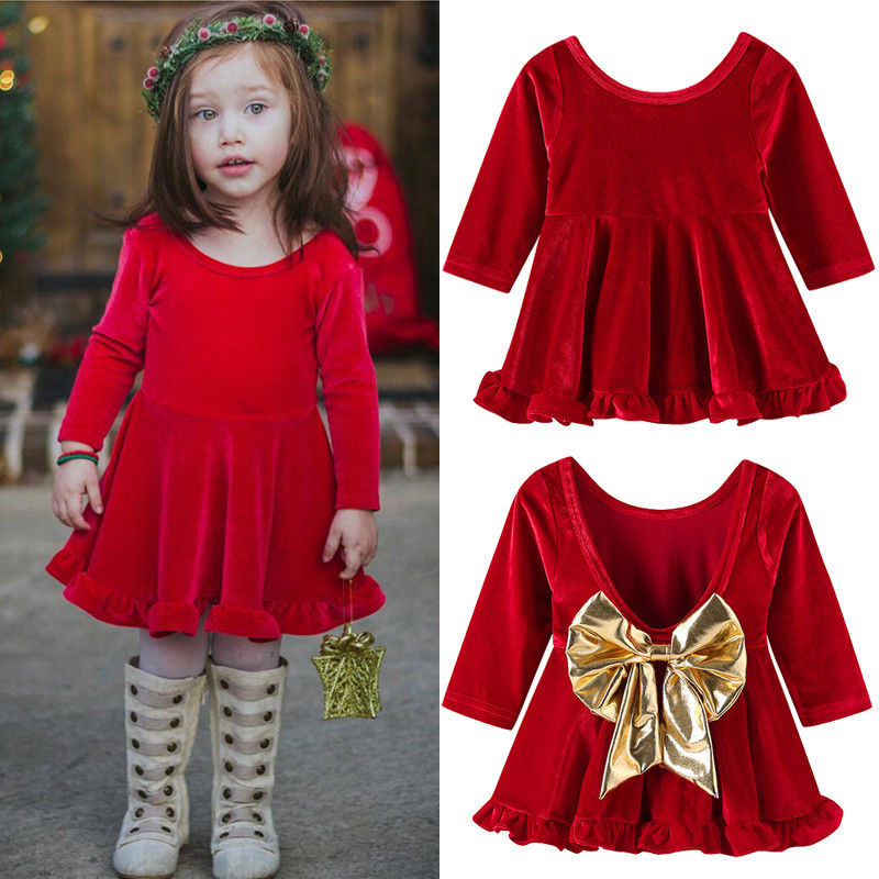 Emmababy 2019 New Brand Baby Girls Velvet Princess Dress With Bow Knot Party Pageant Dress Birthday Gift