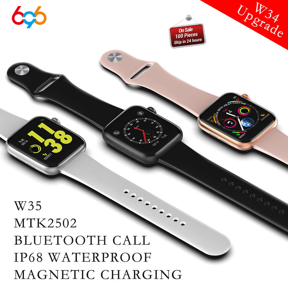 W34 Upgrade W35 <font><b>IP68</b></font> Wasserdichte Bluetooth Call Dial Antwort Smart Uhr <font><b>Smartwatch</b></font> Herz Rate Monitor MTK2502 Uhr 5 serie Band image