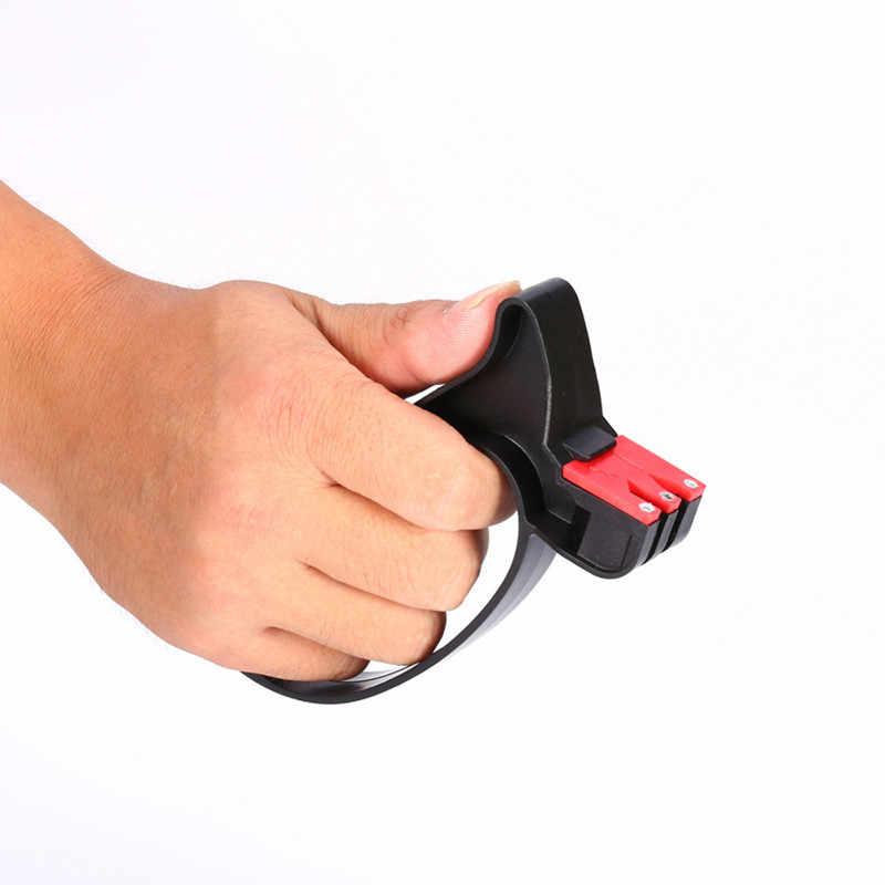 Afiador de facas portátil 2 em 1, mais novo afiador de facas de cozinha portátil com pedra de amolar, ferramenta de cozinha