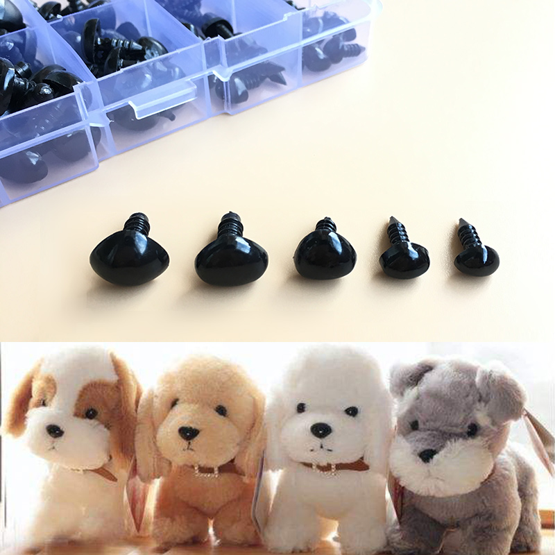100pcs/box 8/9/11/13.5/15mm Mini Black Plastic Safety Triangle Nose for Toy Doll for Teddy Dog Stuffed Animals Dolls Accessories