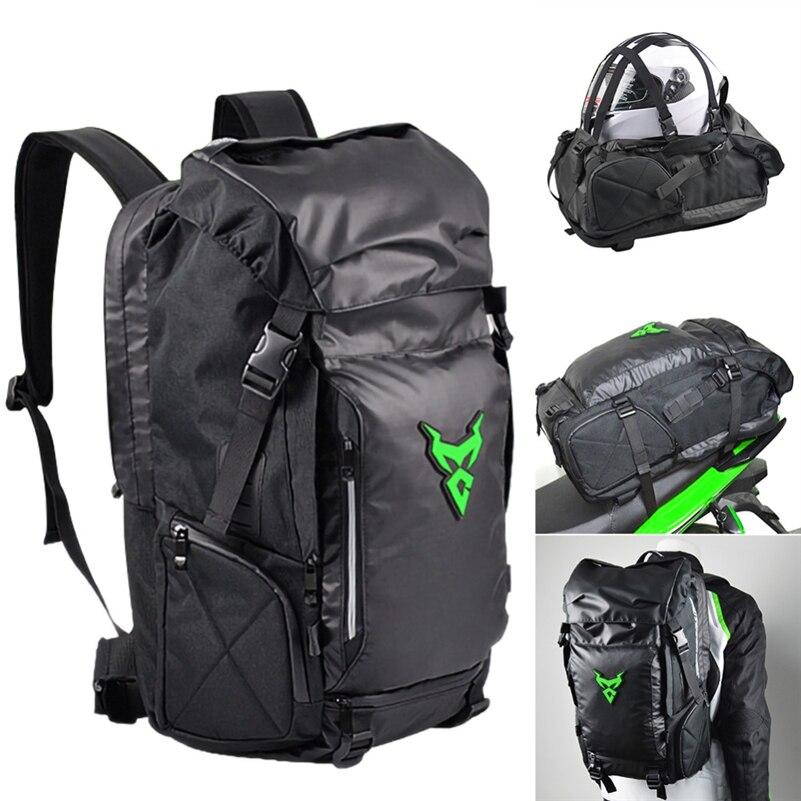 Nuevo impermeable bolsa trasero para motocicleta resistente trasera del asiento de la motocicleta de alta capacidad de la motocicleta jinete mochila casco bolsa de almacenamiento
