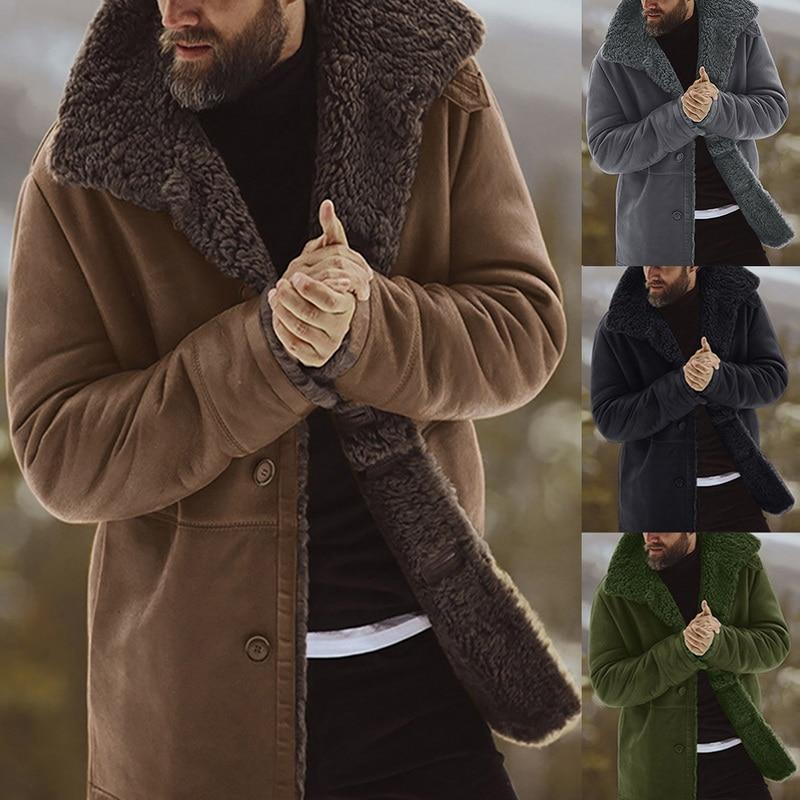Men's Solid Coat Winter Thicken Warm Jacket Vintage Coat Outwear Windproof Chamarra Hombre Fleece Veste Homme Men Parkas Clohtes