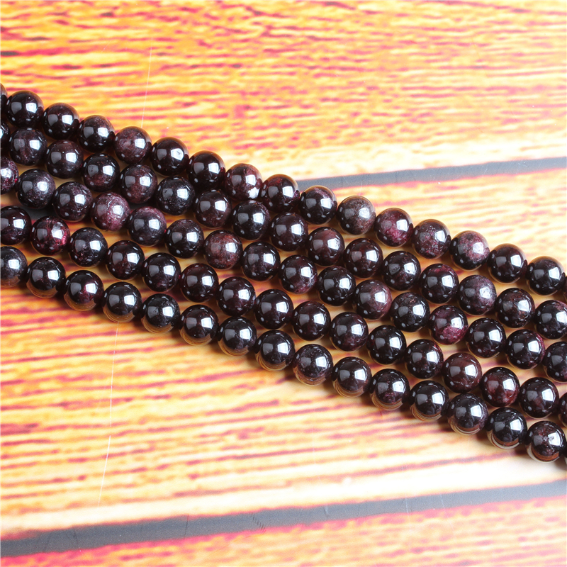 Garnet Natural Stone Bead Round Loose Spaced Beads 15 Inch Strand 4/6/8 / 10mm For Jewelry Making DIY Bracelet Necklace