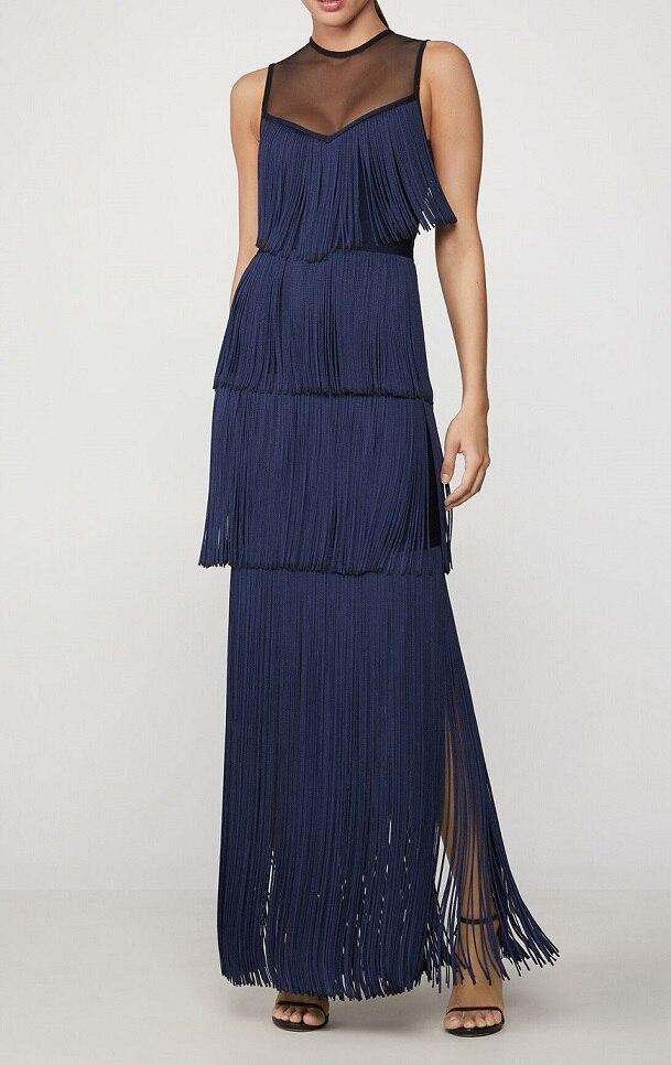 Top qualité Bandage robe élégante célébrité mode robes de soirée femmes Sexy moulante longue robe gland